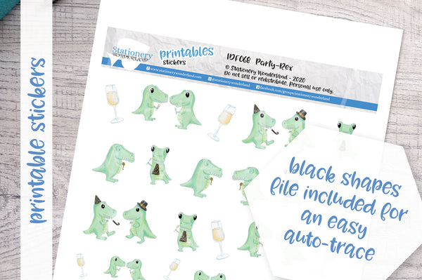 Party-Rex Printable Functional Stickers