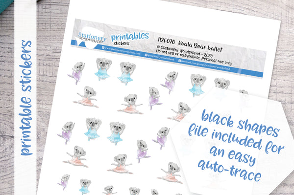 Koala ballet Printable Functional Stickers