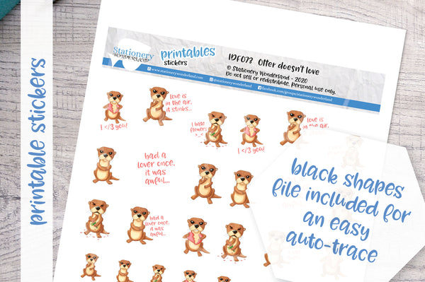 Otter doesn't love Printable Functional Stickers