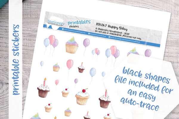Happy BDAY Printable Functional Stickers