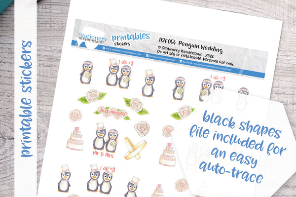 Penguin wedding Printable Functional Stickers