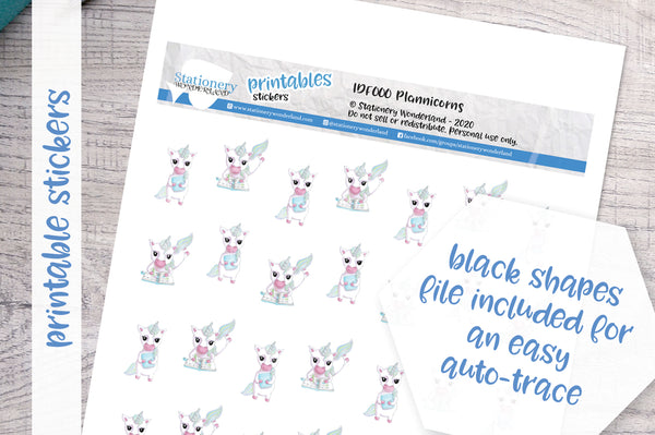 Plannicorns Printable Functional Stickers