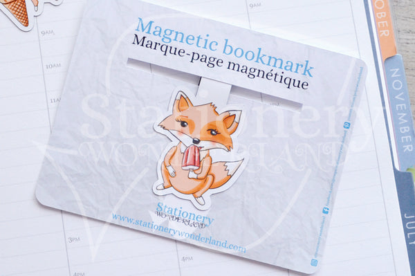 Salty Foxy magnetic bookmark, Foxy gets an ice cream