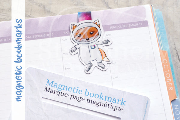 Foxtronaut Foxy magnetic bookmark, Foxy galaxy bookmark