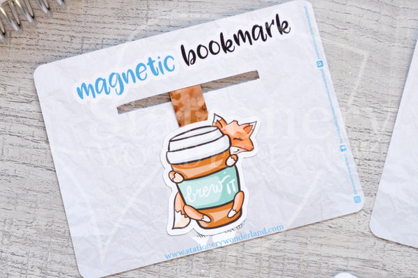 Brew it Foxy magnetic bookmark, Foxy coffee bookmark