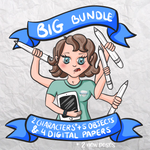 BIG Bundle - 2 characters + 5 objects + 4 digital papers