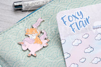 Foxy on her high unicorn enamel pin