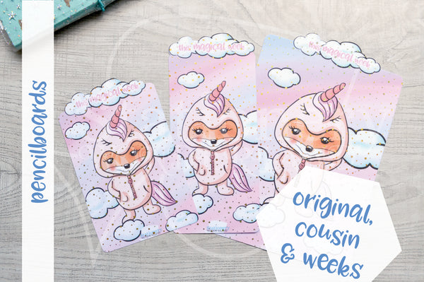 Foxy's unicorn onesie pencilboard - Hobonichi weeks, original and cousin