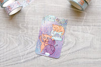 Foxy's crafting kitty washi card - Sewing - Washi sampler card