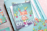 Succulent Foxy, Foxy cacti hand-drawn journaling cards for memory planners 3x4""