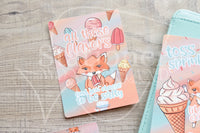 Salty Foxy, Foxy gets an ice cream hand-drawn journaling cards for memory planners 3x4""
