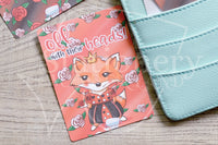 Foxy in Wonderland, Queen of Hearts hand-drawn journaling cards for memory planners 3x4""