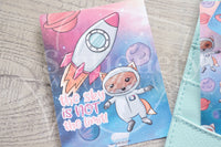Foxtronaut Foxy galaxy hand-drawn journaling cards for memory planners 3x4""