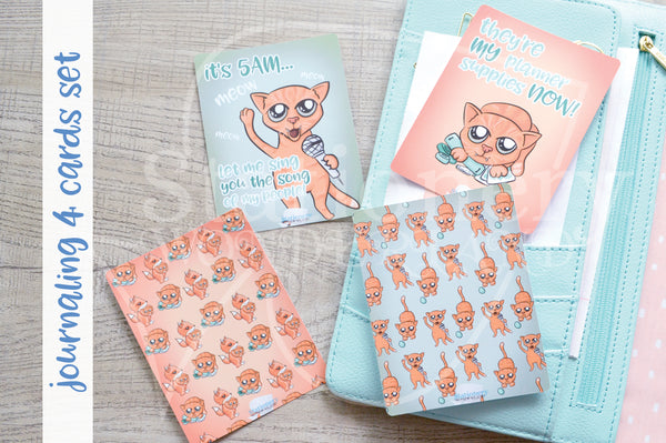 Foxy's kitty hand-drawn journaling cards for memory planners 3x4""