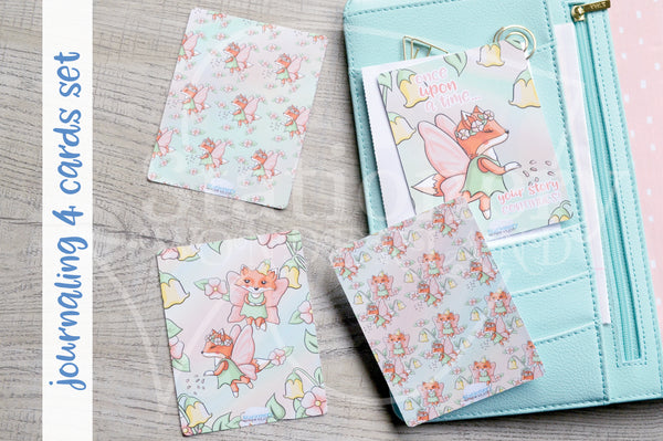 Fairy Foxy hand-drawn journaling cards for memory planners 3x4""