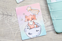 Foxy makes a wish hand-drawn journaling cards for memory planners 3x4""