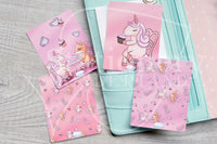 Unicorn tea time Foxy hand-drawn journaling cards for memory planners 3x4""