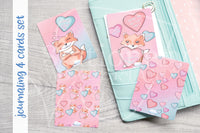 Love me Foxy hand-drawn journaling cards for memory planners 3x4""