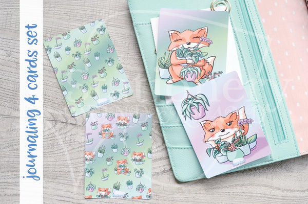 Foxy's plant babies hand-drawn journaling cards for memory planners 3x4""