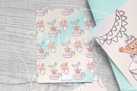 Foxy's B-day hand-drawn journaling cards for memory planners 3x4""