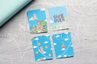 8 bits Foxy hand-drawn journaling cards for memory planners 3x4""