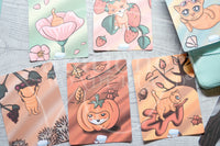Foxy 4 seasons hand-drawn journaling cards for memory planners 3x4""