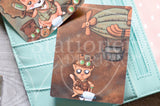 Steampunk Foxy hand-drawn journaling cards for memory planners 3x4""