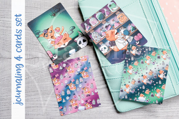 Foxy's spooky lab hand-drawn journaling cards for memory planners 3x4""