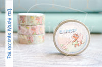 Fairy Foxy hand-drawn rose gold foil accents washi tape - Washi roll