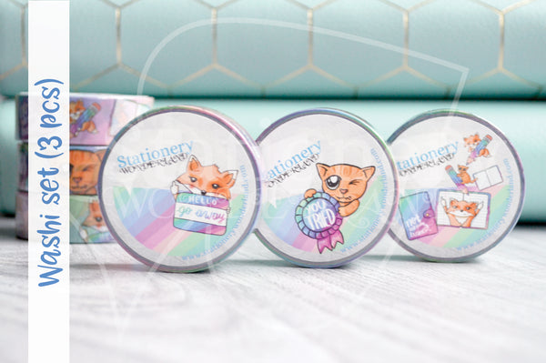 Set of 3 Foxy's Sassy End of the Year hand-drawn washi tape