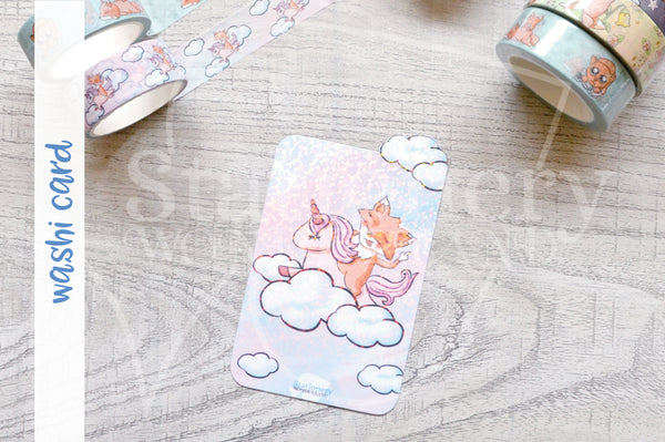 Foxy on her high unicorn washi card - Washi sampler card