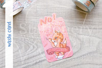 Foxy won't calm her tits washi card - Washi sampler card