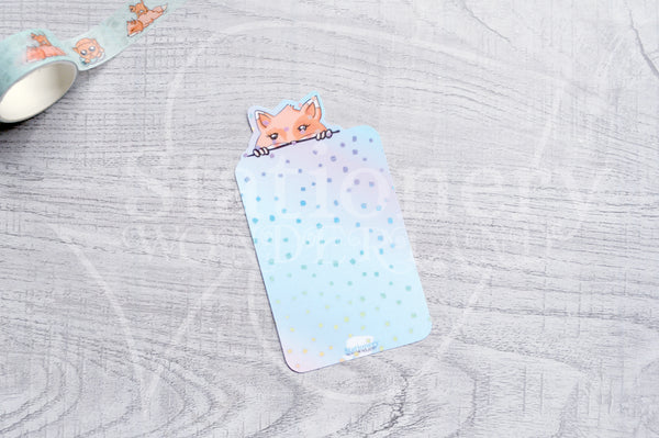 Peeking Foxy, peeking Kitty washi card - Washi sampler card