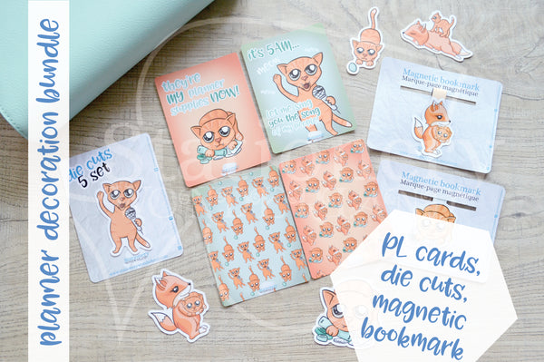 Planner decoration bundle - Foxy's kitty - PL cards, die cuts and magnetic bookmark