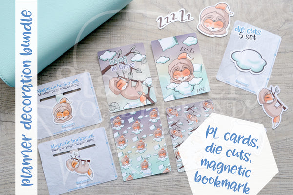 Planner decoration bundle - Slothy Foxy - PL cards, die cuts and magnetic bookmark