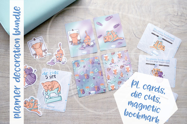 Planner decoration bundle - Foxy's crafting kitty - PL cards, die cuts and magnetic bookmark