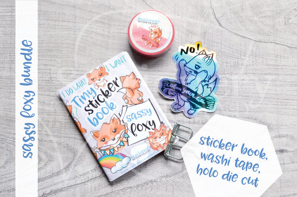 Sassy Foxy bundle - Sassy tiny sticker book, calm your tits washi, calm your tits holo sticker
