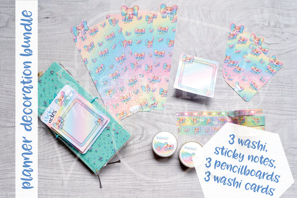 Bow Foxy planner bundle - Washi set, washi cards set, pencilboards set and sticky notes