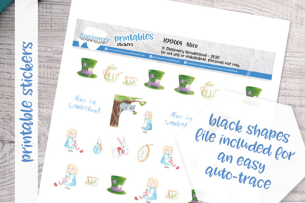 Alice in Wonderland Printable Decorative Stickers