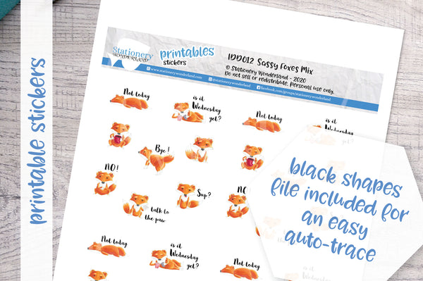 Sassy Foxes Printable Decorative Stickers