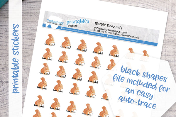 Deez Nuts Printable Decorative Stickers