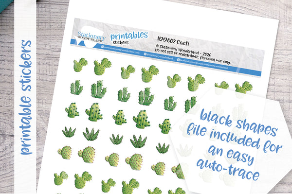 Cacti Printable Decorative Stickers