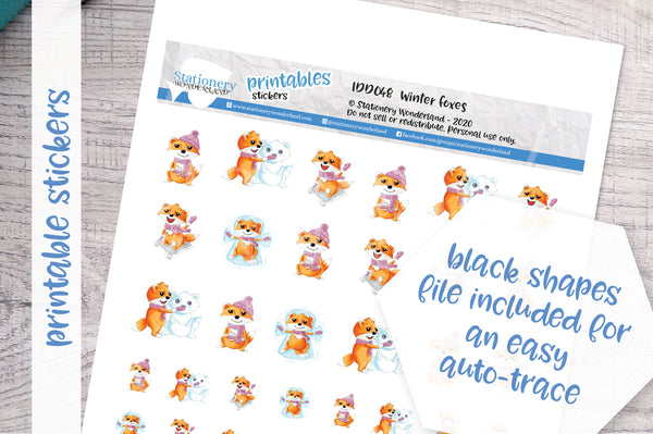 Winter Foxes Printable Decorative Stickers