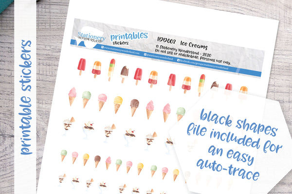 Ice creams Printable Decorative Stickers