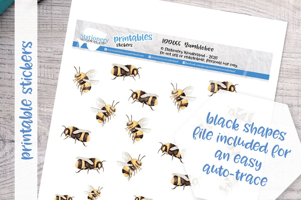 Bumblebee Printable Decorative Stickers