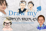 Draw my tiny human - Custom hand drawn portrait stickers