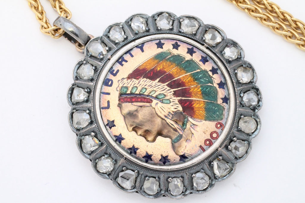 Antique Native American head coin pendant with rose diamonds from 1909-Pendants-The Antique Ring Shop, Amsterdam
