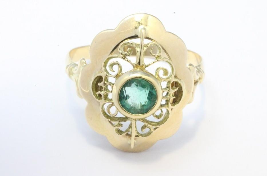 14 carat gold ring with a faceted emerald-Vintage & retro rings-The Antique Ring Shop, Amsterdam