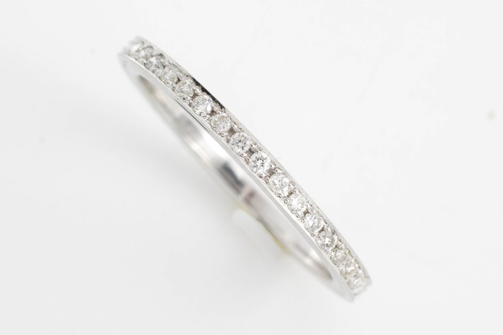White gold half eternity band with diamonds.-Vintage & retro rings-The Antique Ring Shop, Amsterdam