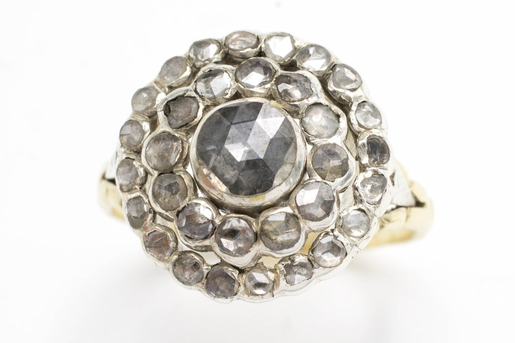 Classic rose diamond cluster ring in silver and gold.-Antique rings-The Antique Ring Shop, Amsterdam